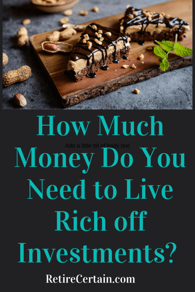 Just how much money do you need to live off investments completely?You can get a good estimate by dividing your annual desired income by the expected yield. For example, if you want $10,000 a month in investment income