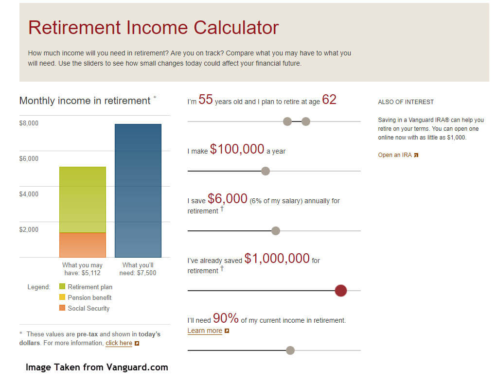 vanguard retirement calculator