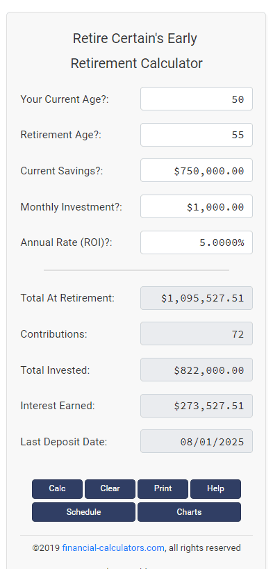 early retirement calculator results